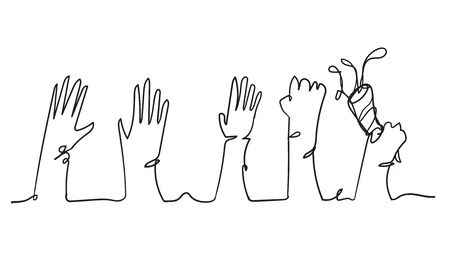 continuous line doodle hand applause gesture illustration
