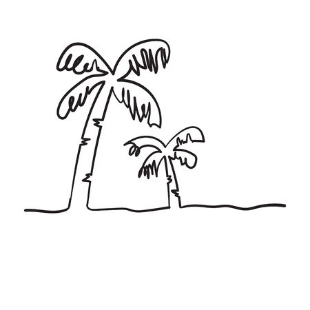 continuous line drawing of a natural coconut doodle handdrawing style Ilustração