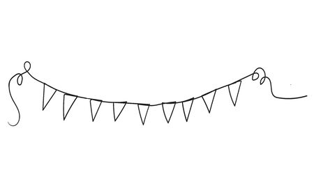 Continuous line drawing. Buntings garland. Party flags.handdrawn doodle cartoon style Ilustração