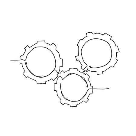 Gears are drawn by a single line on a white background with doodle handdrawn style vector