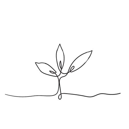 Single continuous line art growing sprout handdrawn doodle style