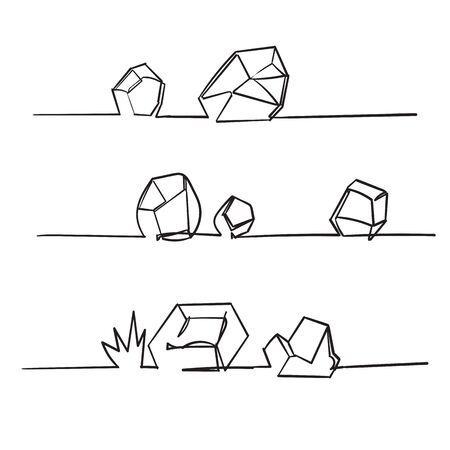 handdrawn stone rock with single line art style vector Vettoriali