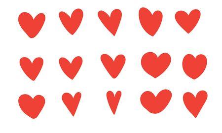 Doodle corazón ilustración vector color rojo estilo
