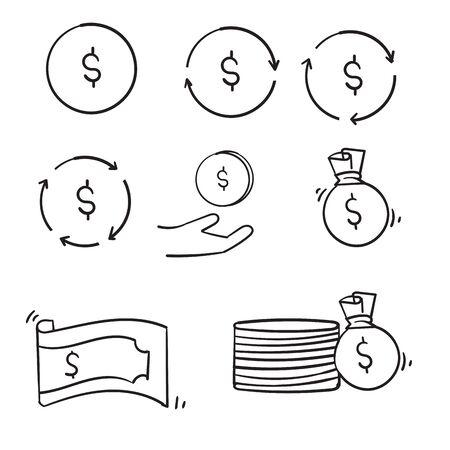 doodle Money line icons set vector illustration handdrawn style