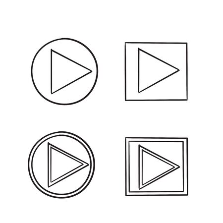 play button icon illustration vector handdrawn style