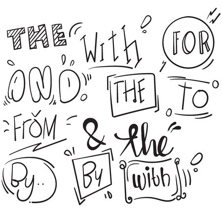 Hand drawn design elements set. words, With,from, by, for, to, the, and, with doodle ampersands, catchwords, calligraphy, ribbon handdrawn style