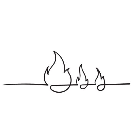 handdrawn fire icon illustration with single line style 向量圖像