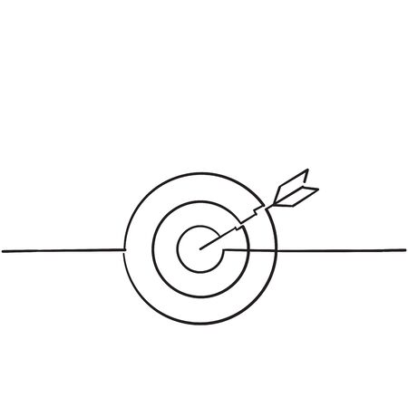Target icon arrow with handdrawn doodle style vector