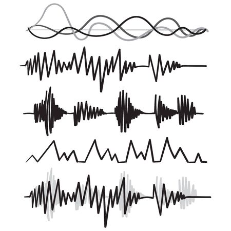 Music audio audio frequency handdrawn doodle style vector Vector Illustration