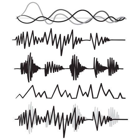 Musik-Audio-Audiofrequenz handgezeichneter Doodle-Stil-Vektor Vektorgrafik