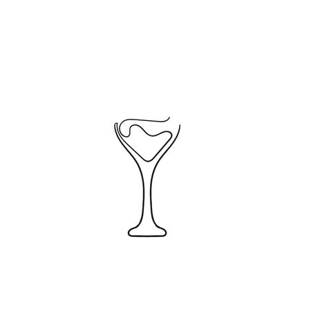 Wine glass cup icon. Red wine symbol pour drink beverage silhouette, glass cup.with hand drawn continuous line style Banque d'images - 137652908