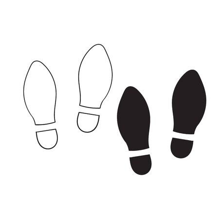 Shoe print icon isolated on white background with hand drawn doodle style vector