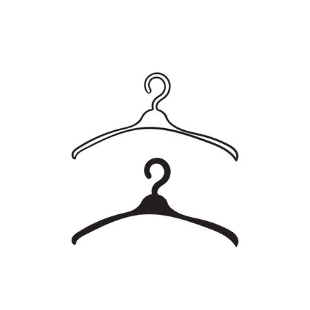 Dibujado a mano doodle Percha de ropa. Vector icono de suspensión aislado sobre fondo blanco