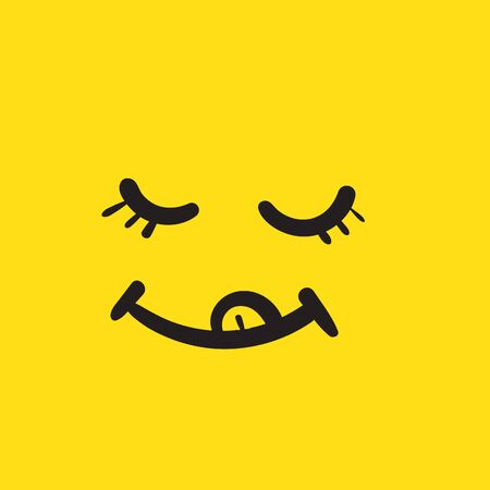 Yum yum smile emoji line icon with tongue lick mouth. yummy Design doodle face for print with cartoon hand drawn style vector