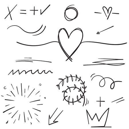 Hand drawn set elements cartoon black on white background