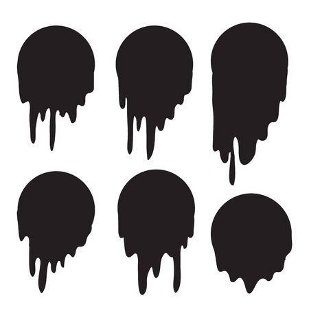 Black melt drips or liquid paint drops. Vector graffiti splatter splash or chocolate syrup and oil leak borders with hand made style vector Ilustração