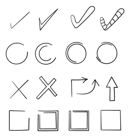 doodle Hand drawn check signs. Doodle v mark for list items, check box chalk icons and sketch check marks. Vector checklist marks icon set