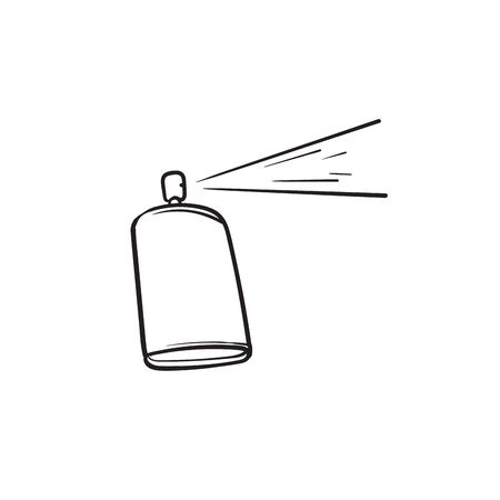 Spray can icon with hand drawn doodle illustration cartoon style isolated background
