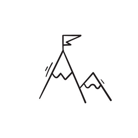 mountain flag illustration with hand drawn doodle style vector