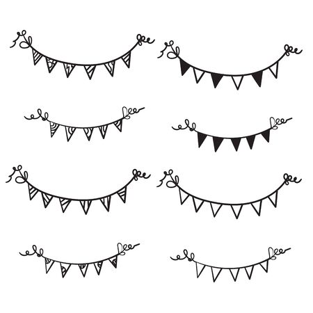 line drawing. Buntings garland. Party flags.hand drawn doodle cartoon style Ilustração