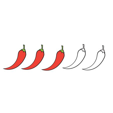 hand drawn Spicy chili pepper level. spicy food mild and extra hot sauce, chili pepper red outline icons vector isolated background 일러스트