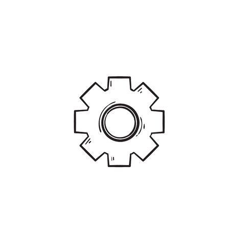 Gear vector icon isolated,cogs,Settings with hand drawn doodle style isolated 版權商用圖片 - 137545385