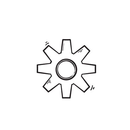 Gear vector icon isolated,cogs,Settings with hand drawn doodle style isolated