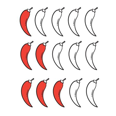 hand drawn Spicy chili pepper level. spicy food mild and extra hot sauce, chili pepper red outline icons vector isolated background Illustration