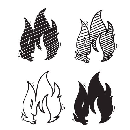 doodle fire illustration with different unique shape hand drawn style vector Illustration