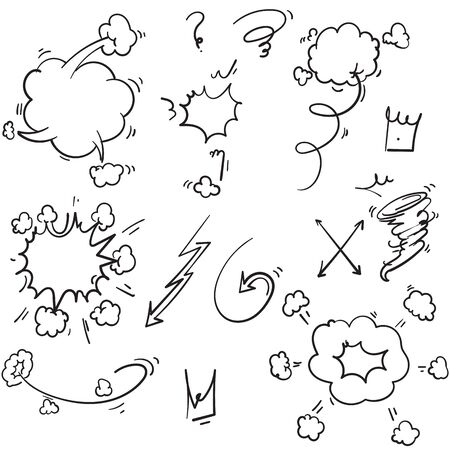 hand drawn doodle comic element illustration isolated background Illusztráció