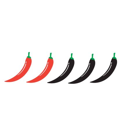 hand drawn Spicy chili pepper level. spicy food mild and extra hot sauce, chili pepper red outline icons vector isolated background