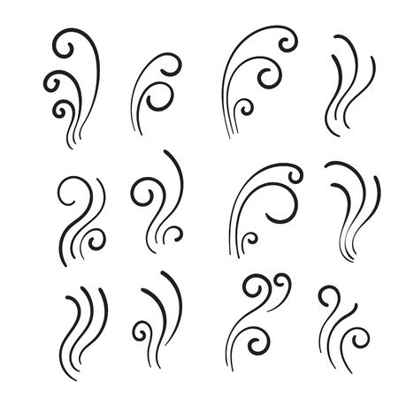 hand drawn Aromas vaporize icons. Smells vector line icon set, hot aroma, stink or cooking steam symbols, smelling or vapor, smoking or odors signs Иллюстрация