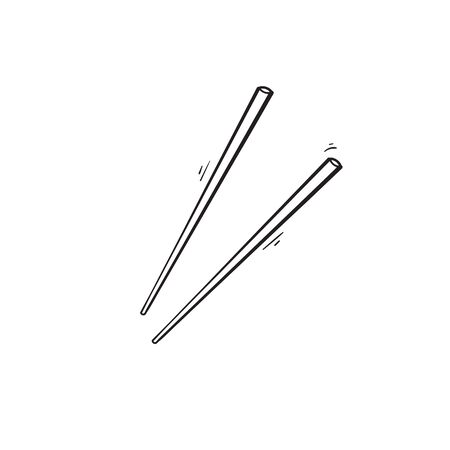 hand drawn asian chopstick. japanese and chinese food stick illustration.doodle