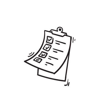 Modèle de conception d'icône de presse-papiers avec illustration de signe de coche style doodle dessiné à la main