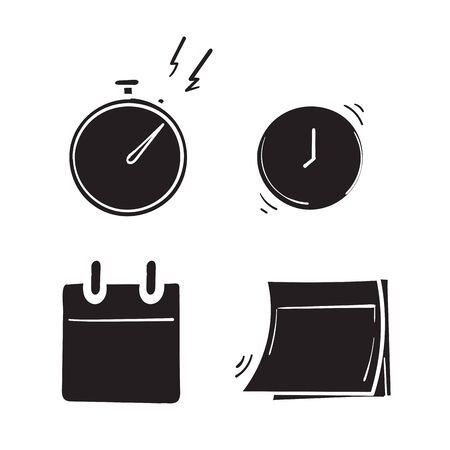collection of stopwatch,calendar,clock symbol for sale countdown badges icon,business limited special promotions.hand drawn doodle