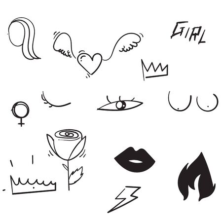 Set of doodle feminism elements and text. Feminist Female hand drawn brush graphic. Vector illustration. Girl power concept. isolated Illustration