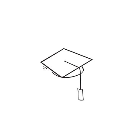 hand drawn Square academic cap, Simple graduate cap silhouette icon doodle style