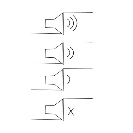 hand drawn icon that increases and reduces the sound. Icon showing the mute. A set of sound icons with different signal levels in a doodle style.
