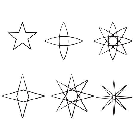 doodle Star icons. Twinkling stars. Sparkles, shining burst. Christmas vector symbols isolated hand drawn style Imagens - 141252345