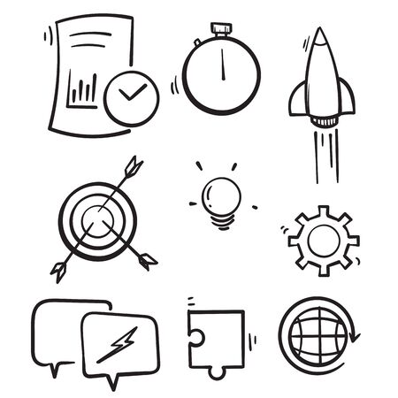 hand drawn Startup line icons. Launch Project, Business report and Target. Strategy linear icon set. Quality line set. Vector.doodle