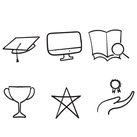 hand drawn Online education line icon set vector illustration doodle style vector