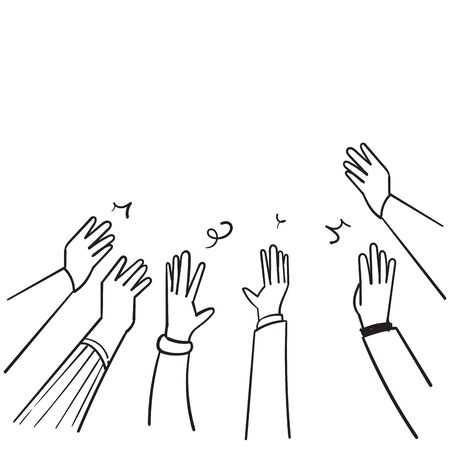 hand drawn People raise hands up applause clapping for vote volunteer and cheering concept. Doodle vector design. Vectores
