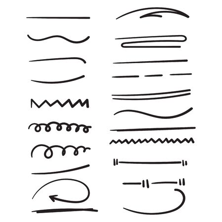 hand drawn doodle line art collection element illustration doodle vector