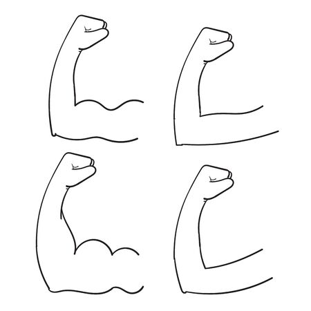 hand drawn doodle muscular bicep arm illustration isolated vector