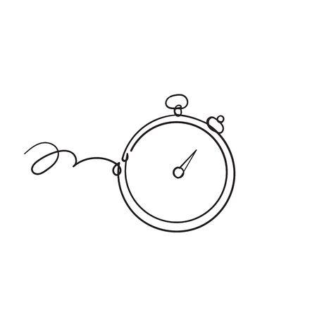 hand drawn Stopwatch timer icon vector flat design doodle style Vektorové ilustrace
