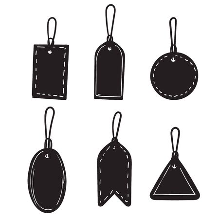 hand drawn Set of sale tags and labels, template shopping labels. Blank, discount and price tags on paper. Special offer. Vintage. Vector illustration. doodle