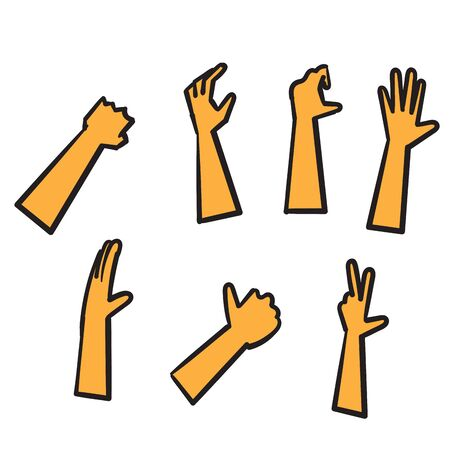 Set of hands showing different gestures. Palm pointing at something. hand drawn doodle style vector