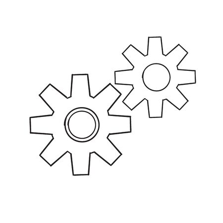 hand drawn doodle Gears are drawn by a single line on a white background. Single line drawing. Continuous line. Vector