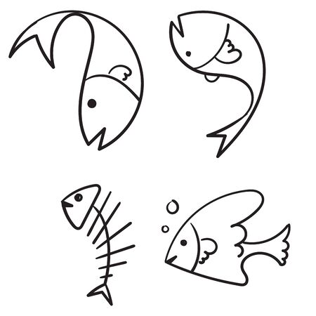 doodle fish collection cartoon style Imagens - 148765346