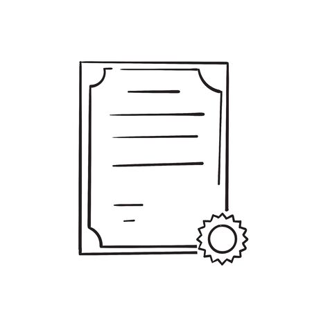 hand drawn doodle certificate icon illustration cartoon vector Imagens - 149178039